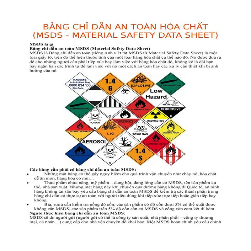 khái niệm về bảng chỉ dẫn an toàn hóa chất